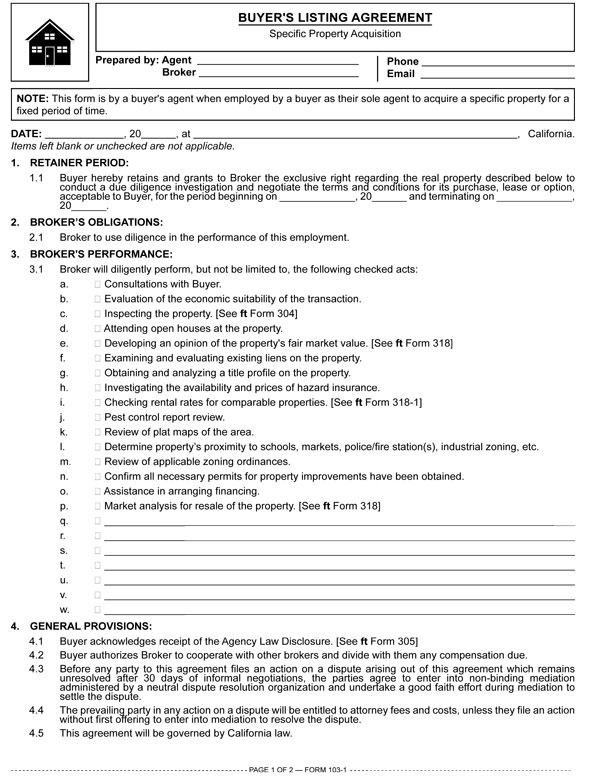 Buyers Listing Agreement Specific Property Acquisition Rpi Form