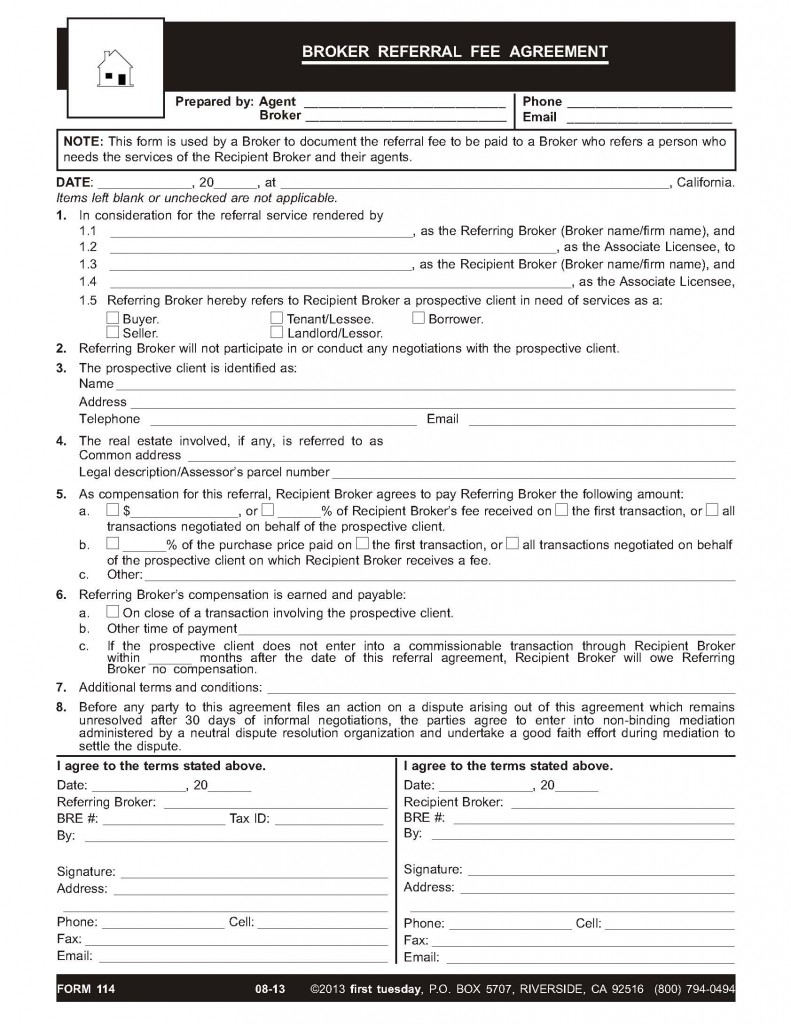 Real Estate Referral Fee Form Nurufunicaasl