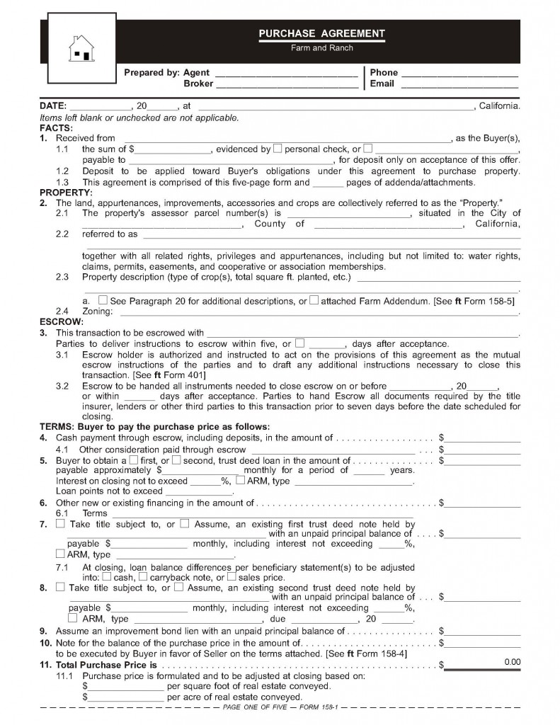 The farm and ranch purchase agreement – Sample Real Estate Purchase Agreement Template