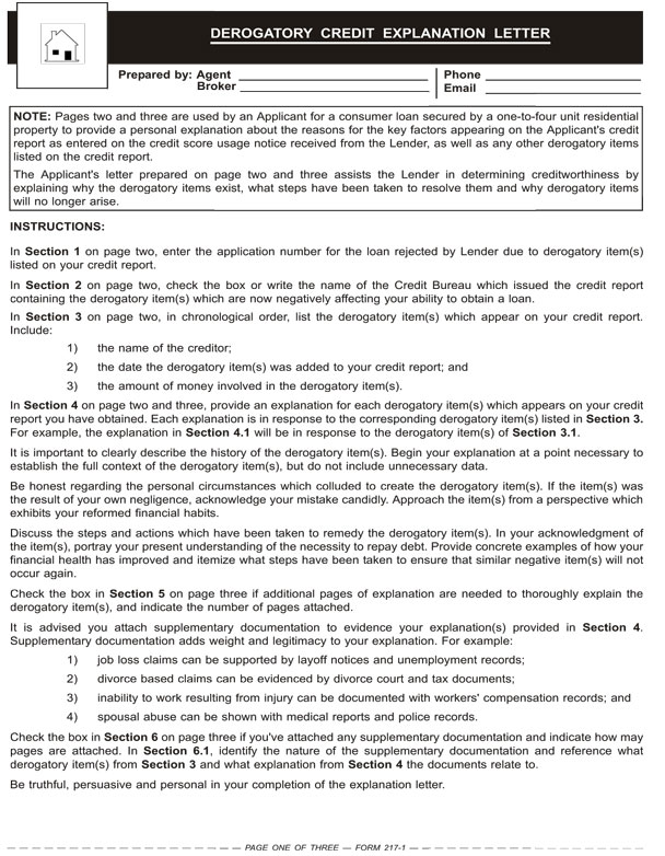 Letter Of Explanation Template Mortgage