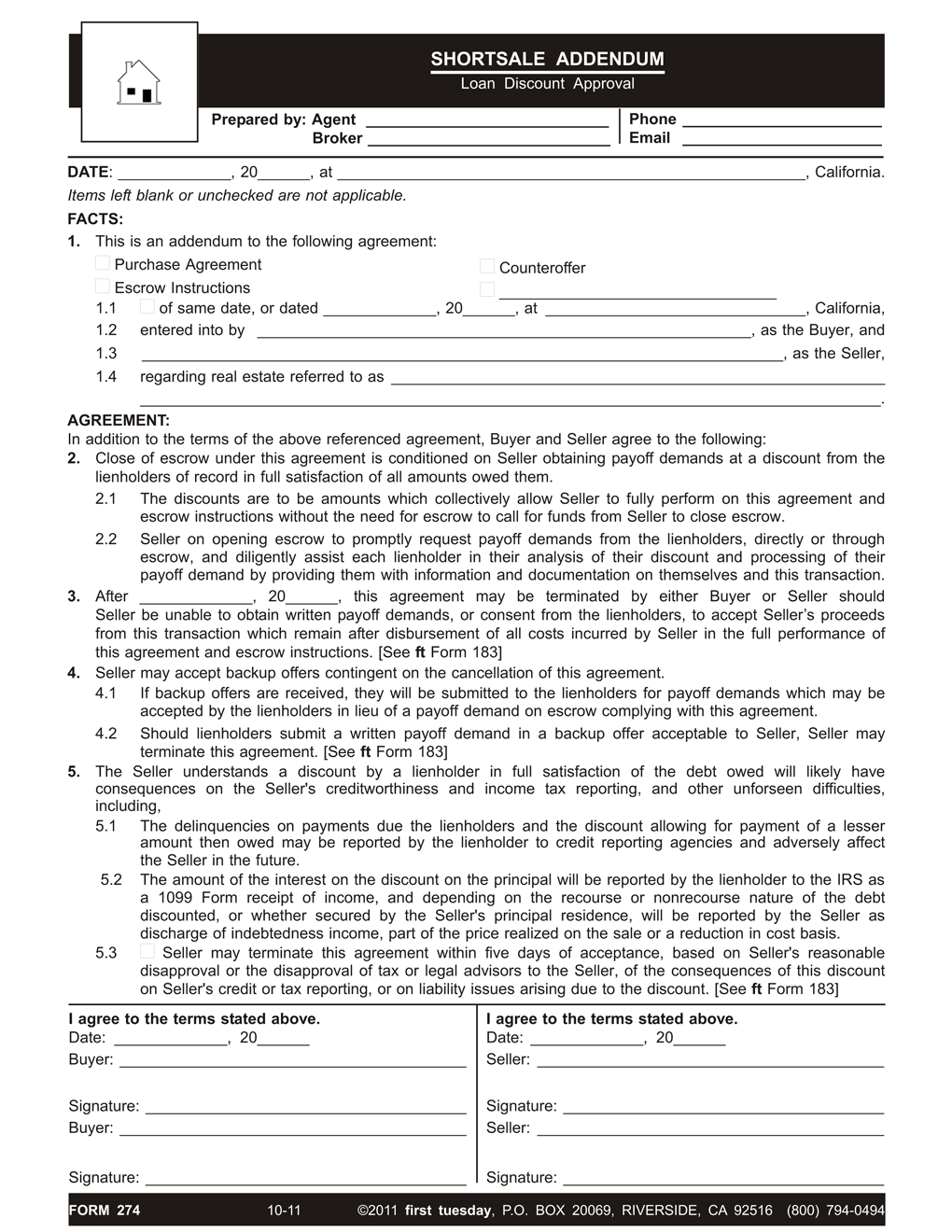 The Short Sale Purchase Agreement Boilerplate Agreement Or As An