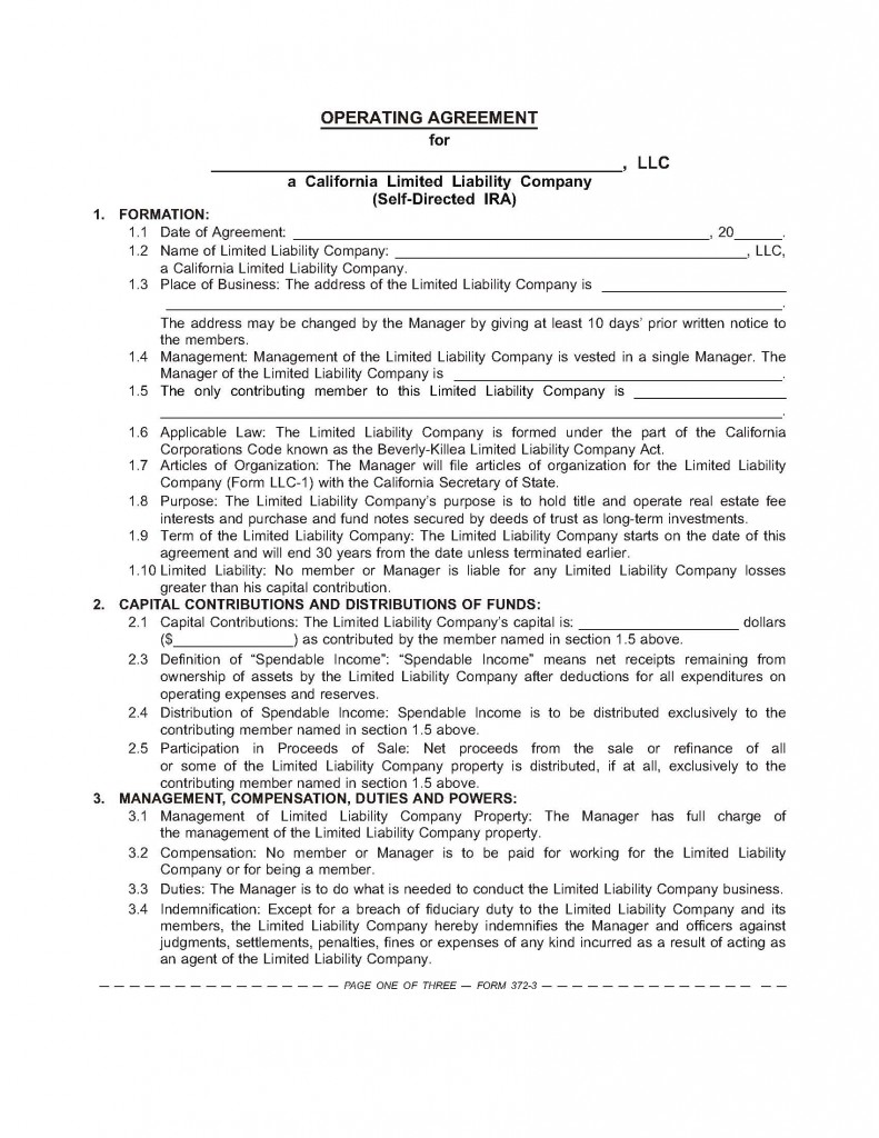 Llc Operating Agreement Page