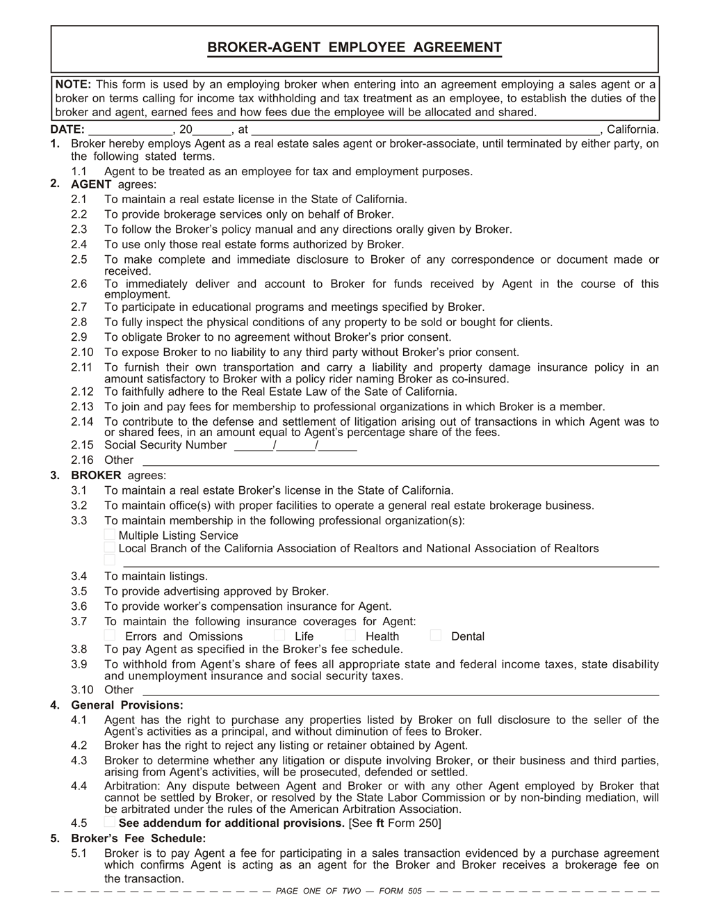 Broker agent employee agreement rpi form 505 first tuesday journal licensed employees of the broker pronofoot35fo Gallery