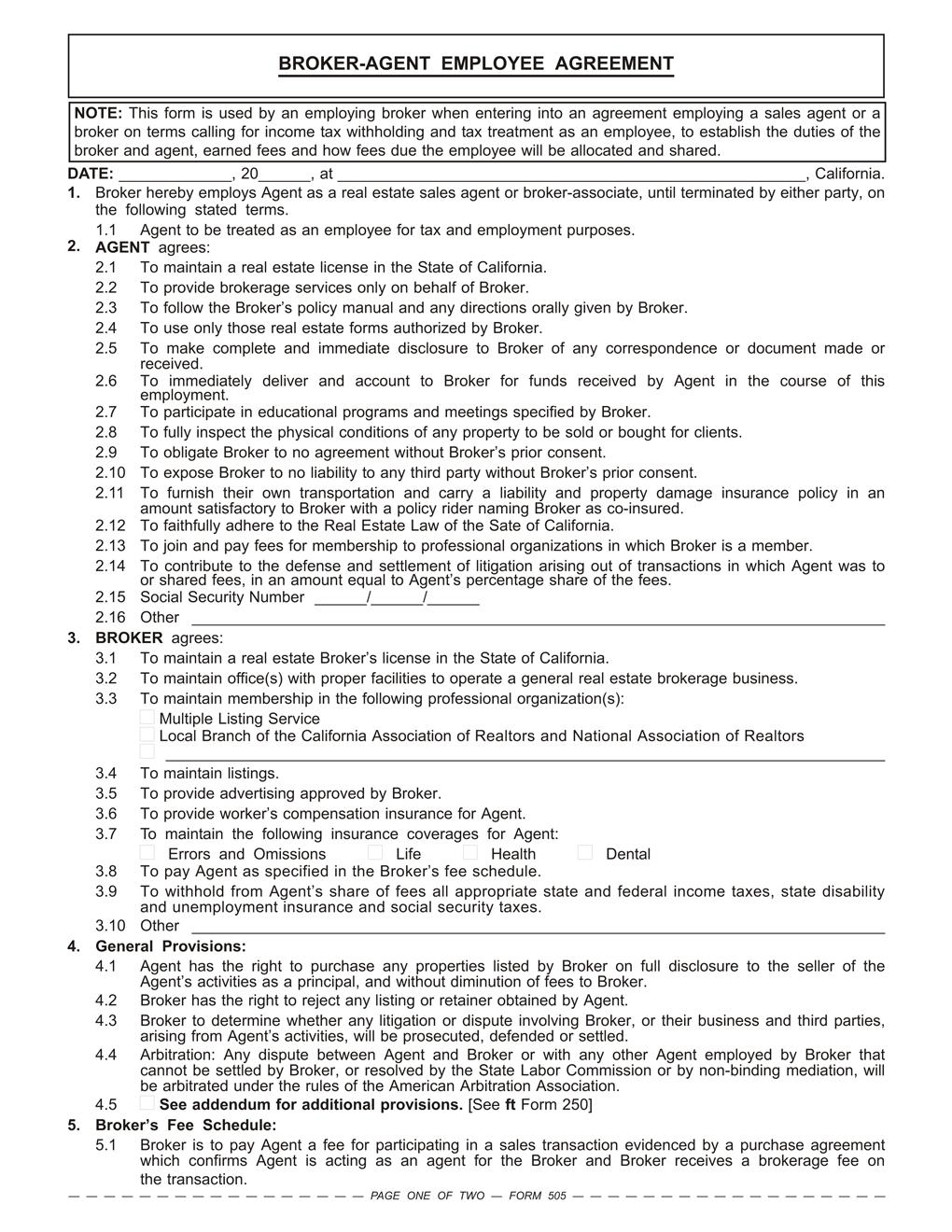 Broker Agent Employee Agreement Rpi Form 505 First