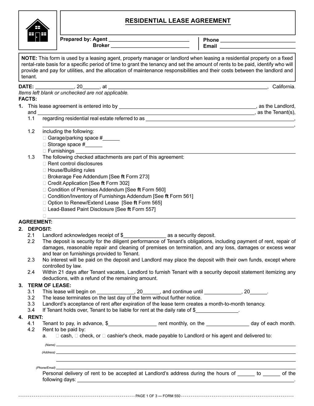 Residential Lease Agreement RPI Form 550 – Landlord Lease Agreement Tempalte