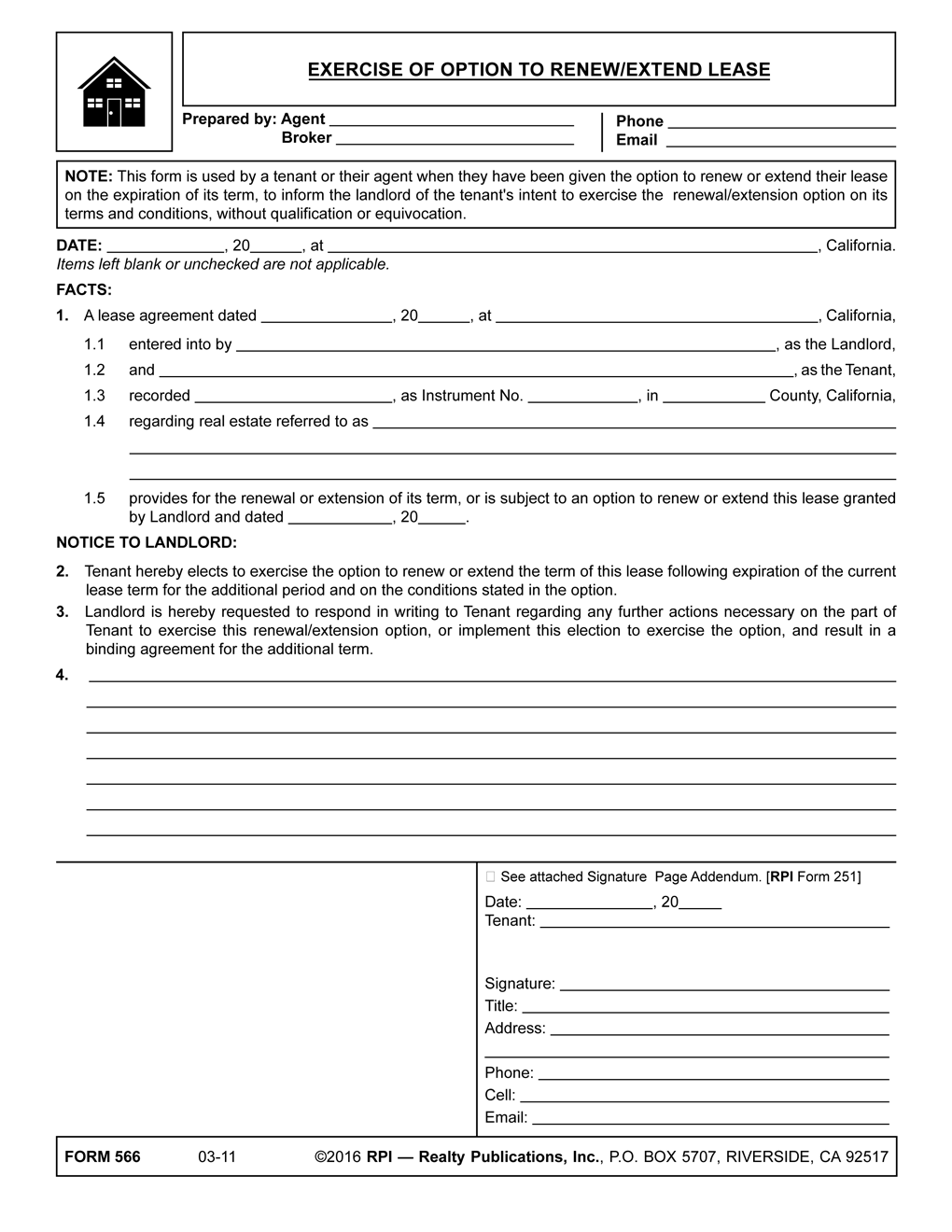 option to renew lease letter