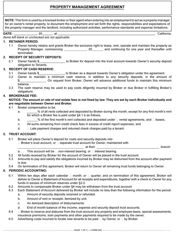 Property Management Agreement Rpi Form 590 First Tuesday