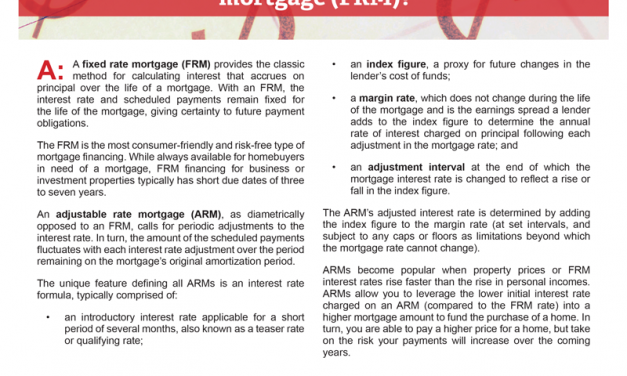 Client Q&A: What's the difference between an adjustable rate mortgage (ARM) and a fixed rate mortgage (FRM)?