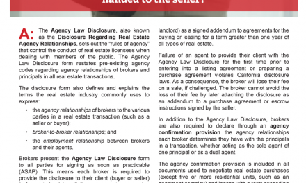 Client Q&A: What is the Agency Law Disclosure and when is it handed to the seller?
