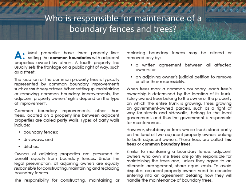 Client Q&A: Who is responsible for maintenance of boundary fences and trees?