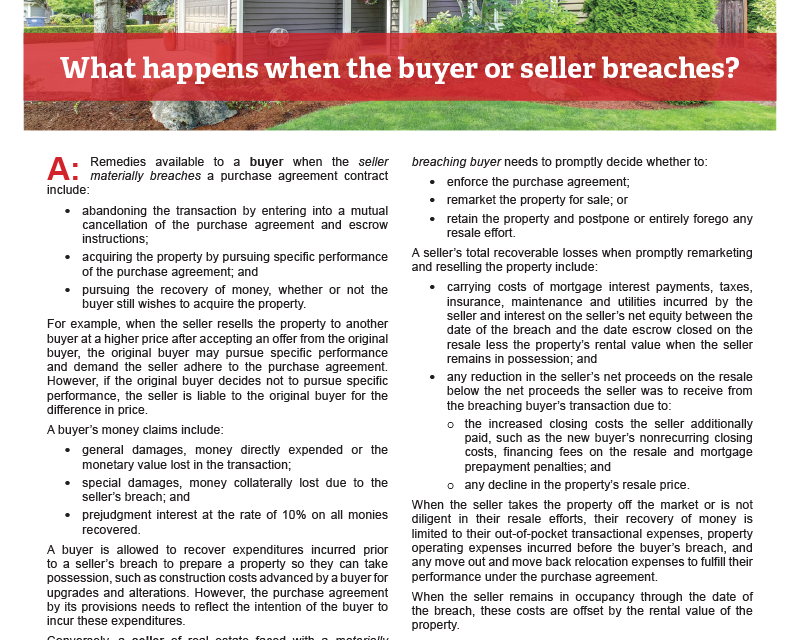 Client Q&A: What happens when the buyer or seller breaches?