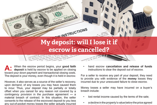 Client Q&A: My deposit: will I lose it if escrow is cancelled?