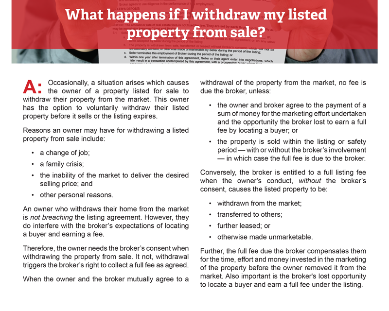 Client Q&A: What happens if I withdraw my listed property from sale?