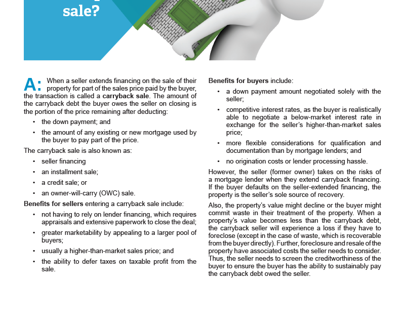 Client Q&A: What is a carryback sale?