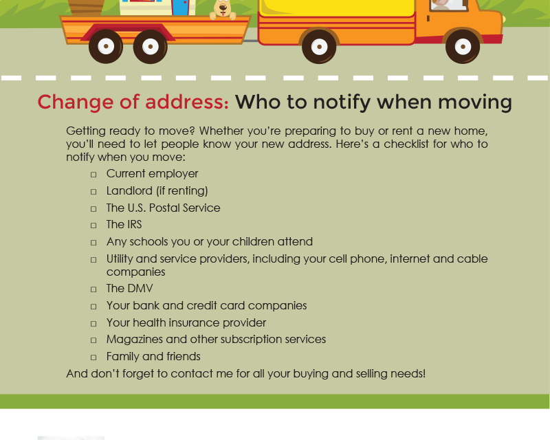 farm  change of address  who to notify when moving