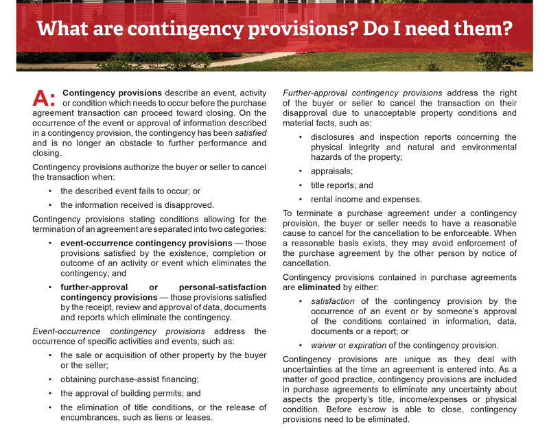 Client Q&A: What are contingency provisions? Do I need them?