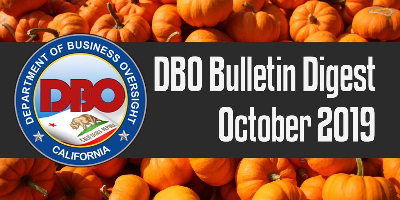 DBO Bulletin Digest October 2019