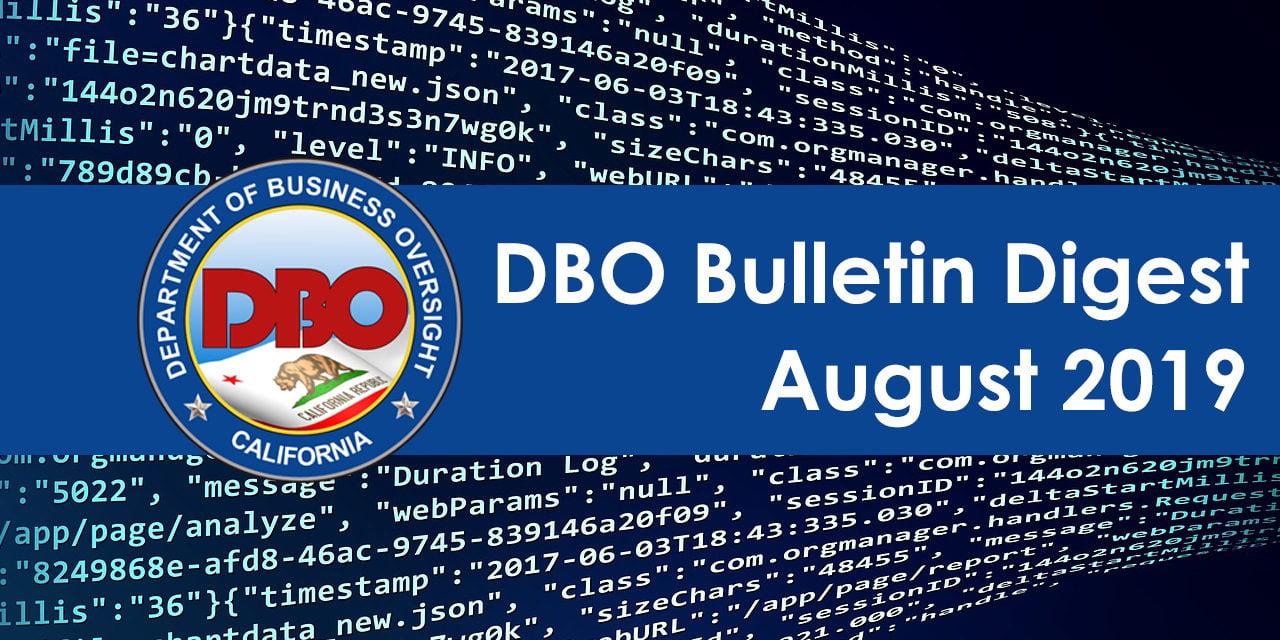DBO Bulletin Digest August 2019