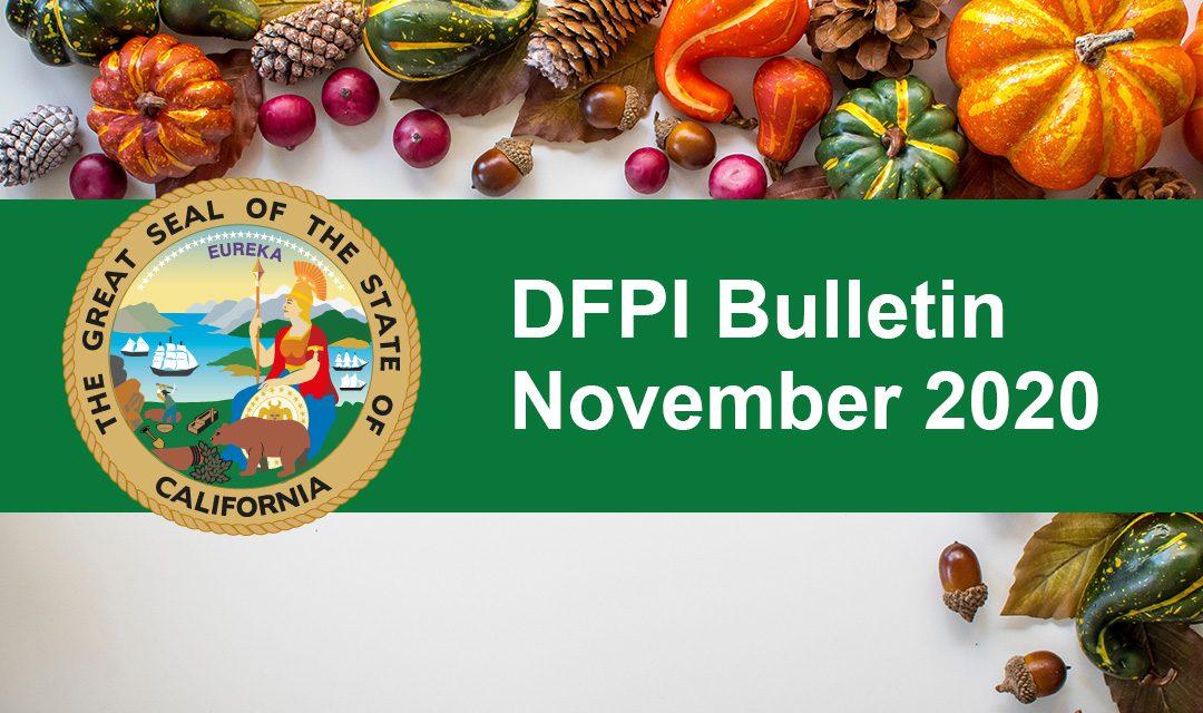 DFPI Bulletin: November 2020