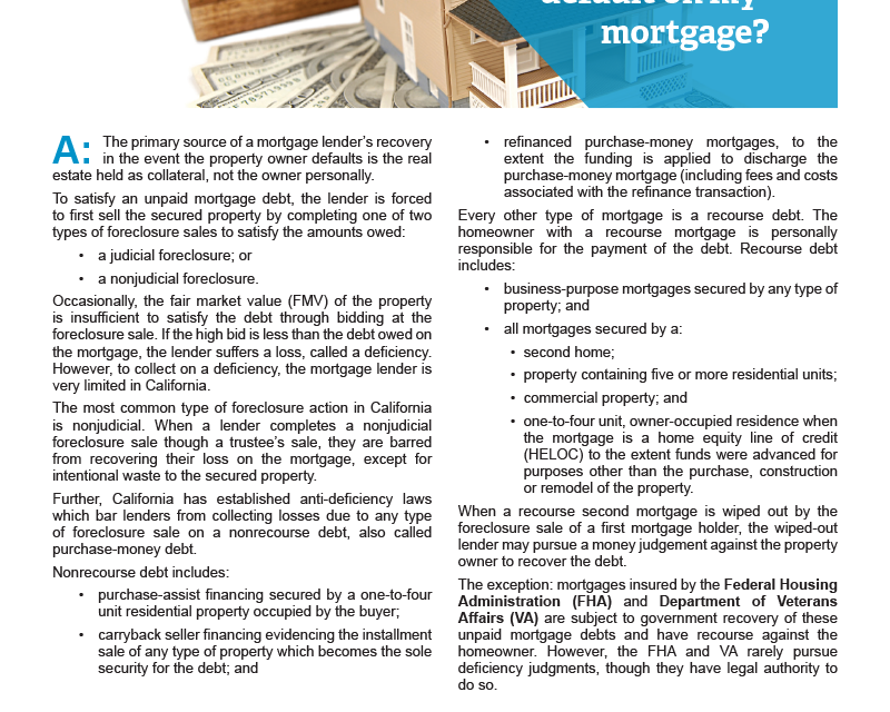 Client Q&A: Am I personally liable if I default on my mortgage?