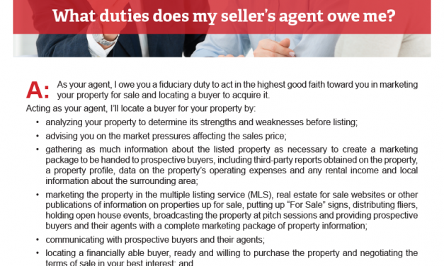 Client Q&A: What duties does my seller's agent owe me?