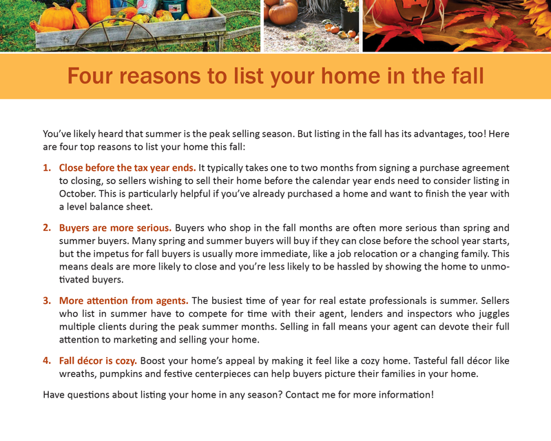FARM: 4 reasons to list your home in the fall