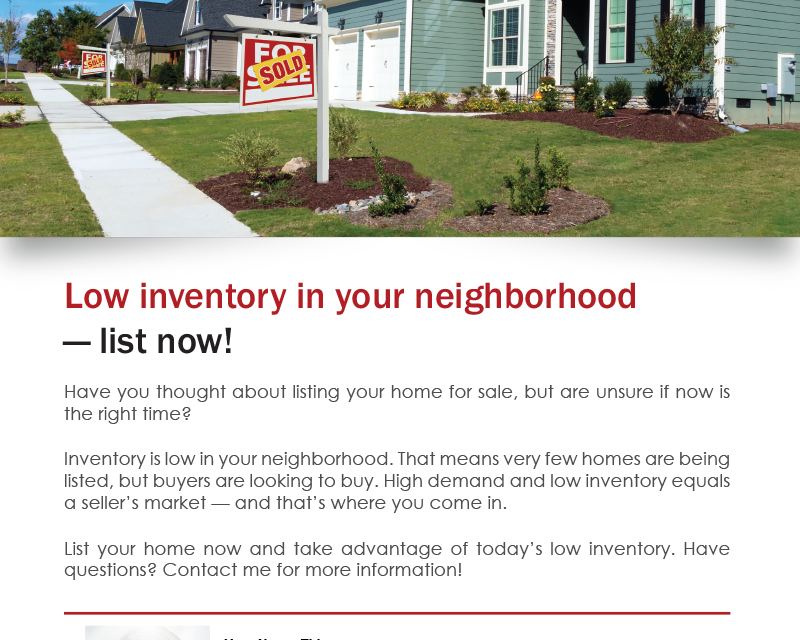 FARM: Low inventory in your neighborhood — list now!