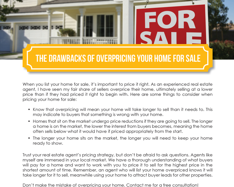 FARM: The drawbacks of overpricing your home for sale