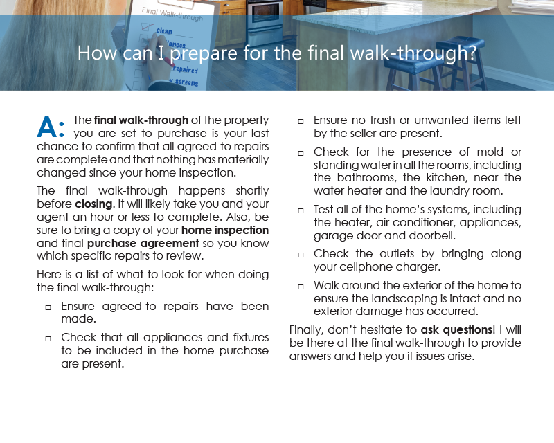 Client Q&A: How can I prepare for the final walk-through?
