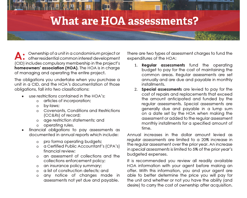 Client Q&A: What are HOA assessments?