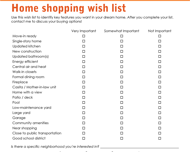 FARM: Home shopping wish list
