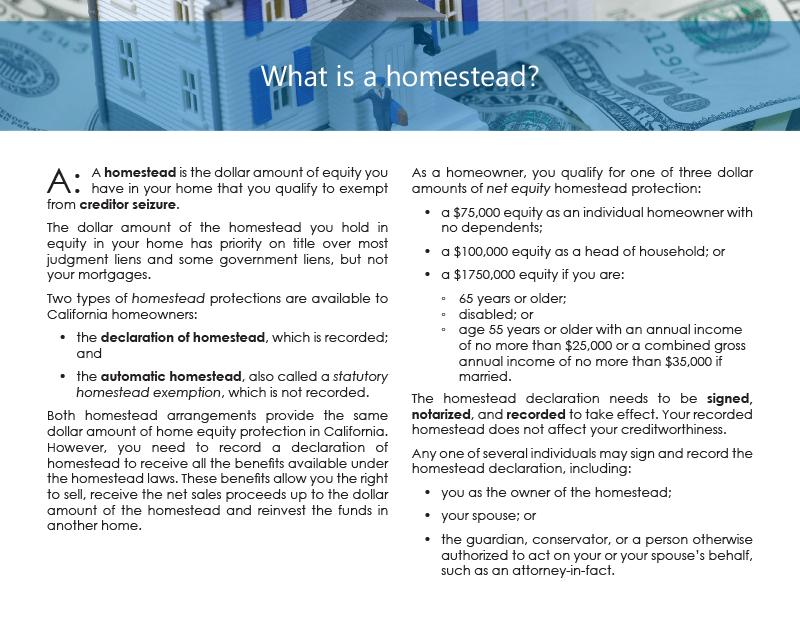 Client Q&A: What is a homestead?