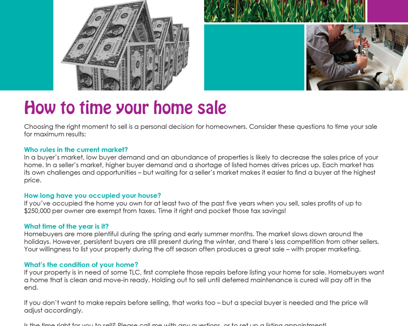 FARM: How to time your home sale | first tuesday Journal