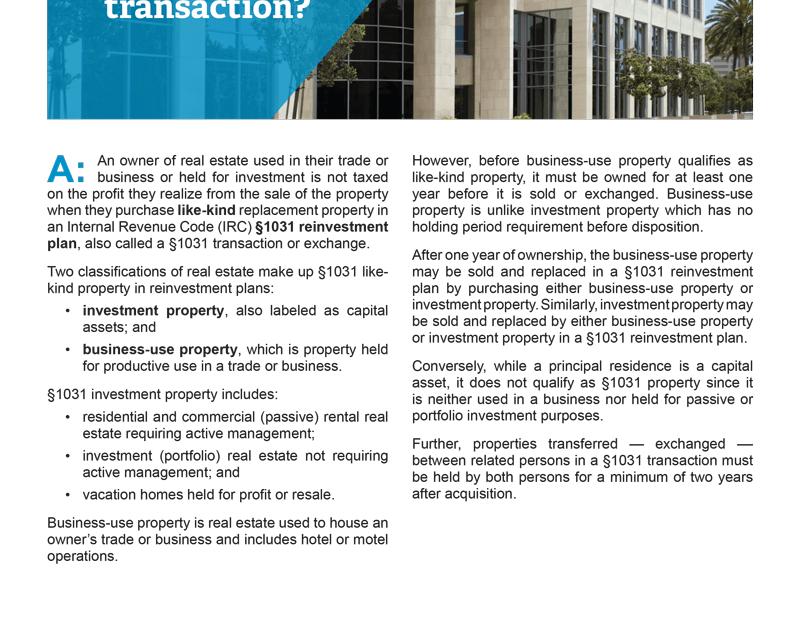 Client Q&A: What is a §1031 transaction?