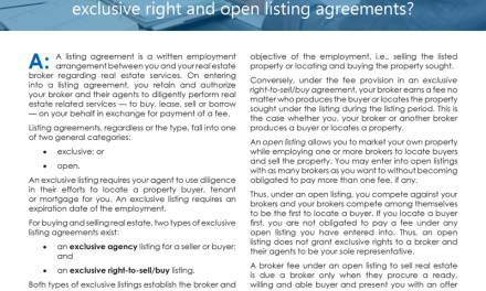 Client Q&A: What is the difference between an exclusive agency, exclusive right and open listings?
