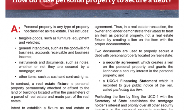 Client Q&A: How do I use personal property to secure a debt?
