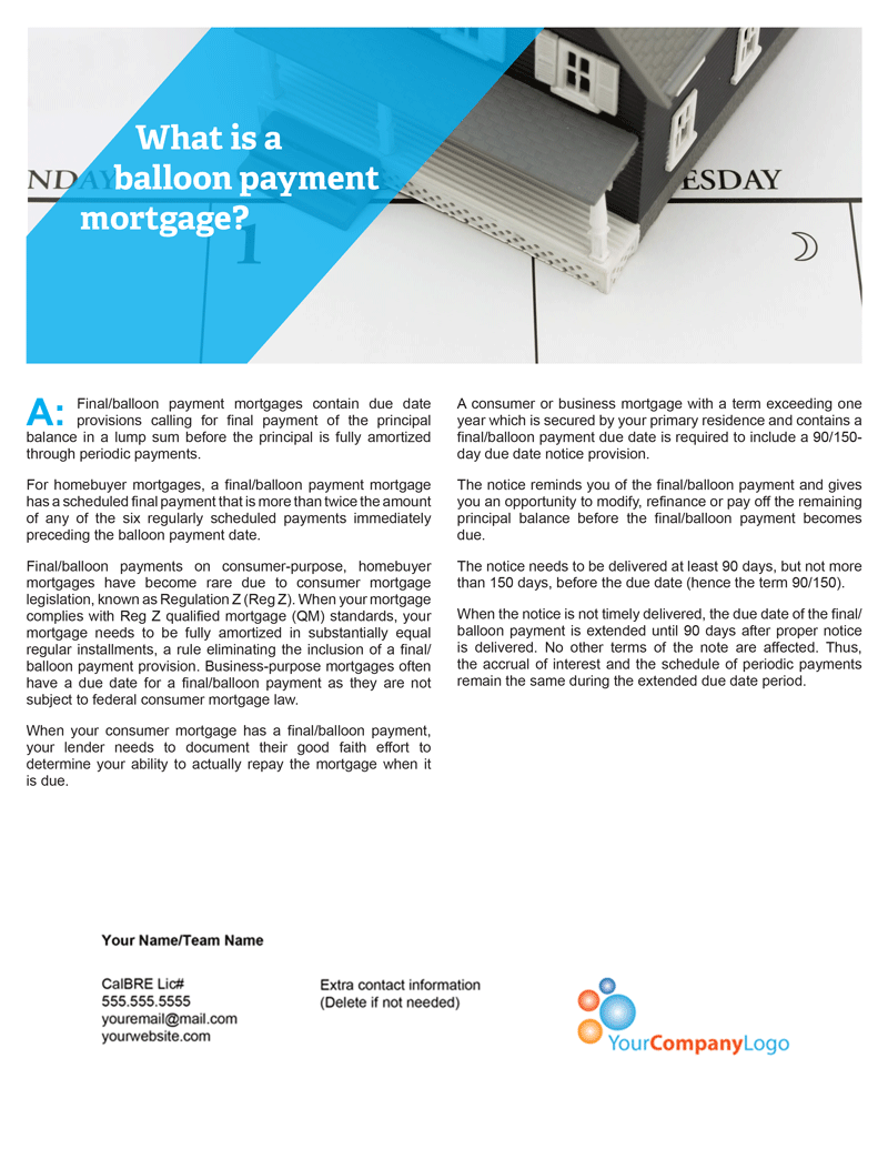 I-What is a balloon payment mortgage