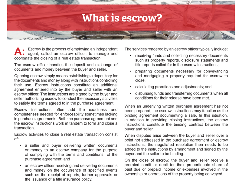 Client Qa What Is Escrow First Tuesday Journal