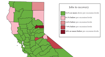 Jobs recovery by California county