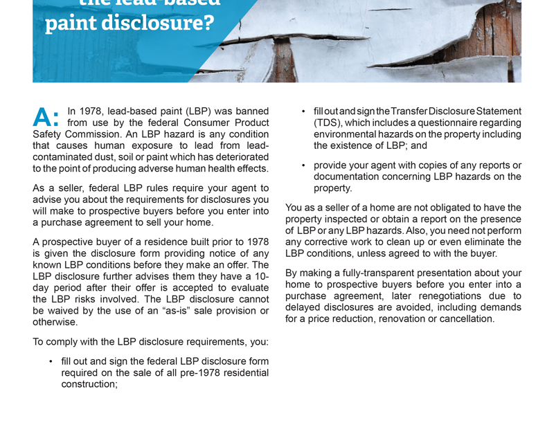 Client Q&A: What do I need to know about lead-based paint disclosure?