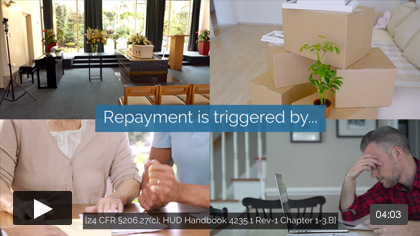 What triggers repayment of a reverse mortgage?