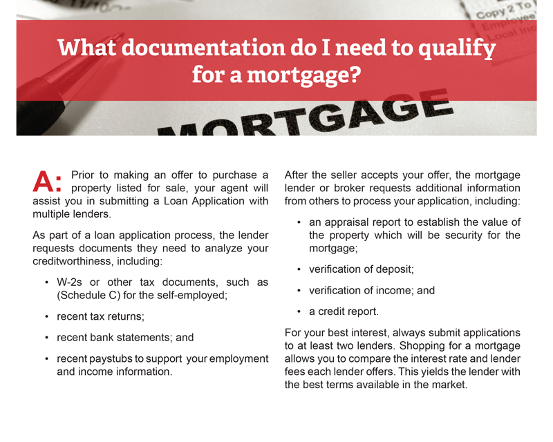 Client Q&A: What documentation do I need to qualify for a mortgage?
