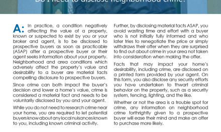 Client Q&A: Do I need to disclose neighborhood crime?