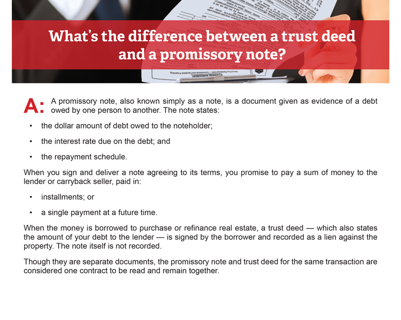 Client Q&A: What's the difference between a trust deed and a promissory note?