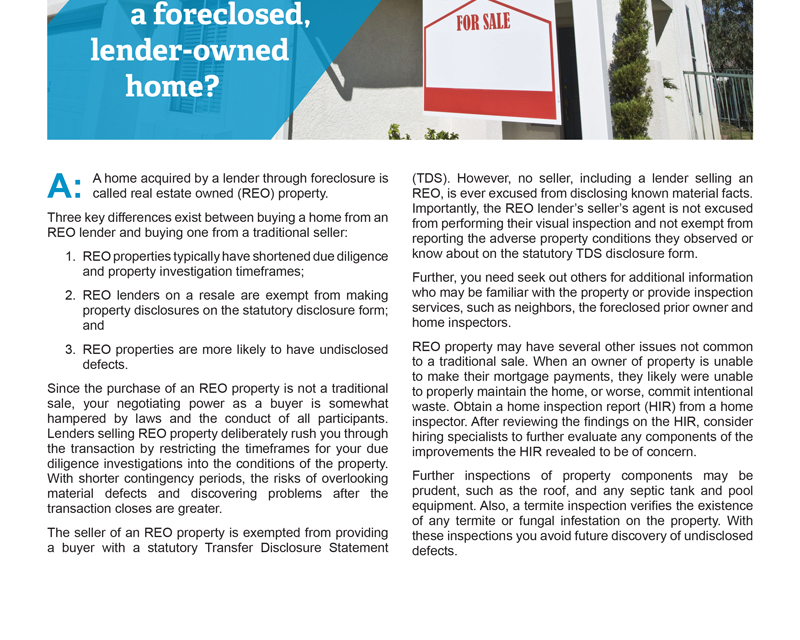 Client Q&A: What am I to expect when buying a foreclosed, lender-owned home?