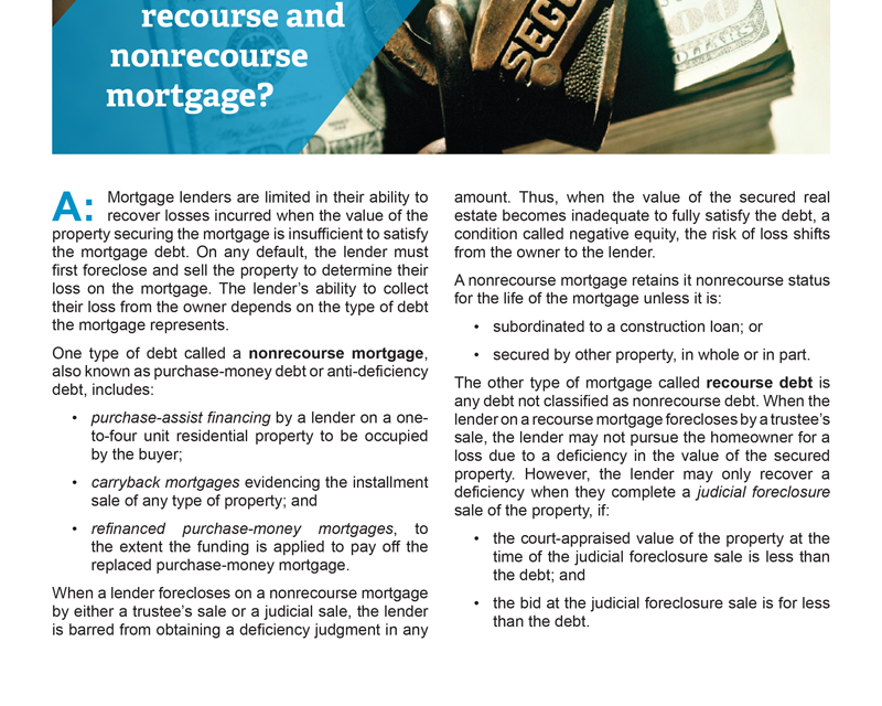 Client Q&A: What's the difference between a recourse and nonrecourse mortgage?
