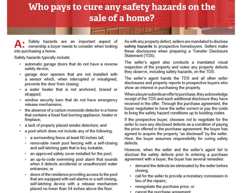 Client Q&A: Who pays to cure any safety hazards on the sale of a home?