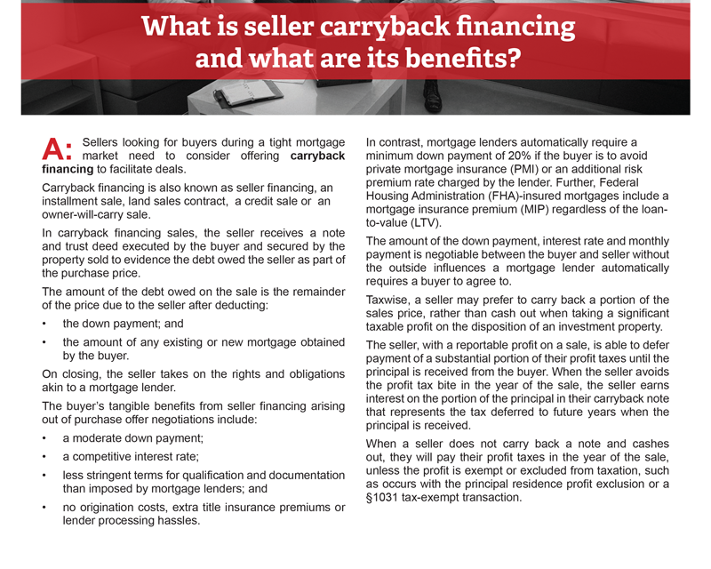 Client Q&A: What is seller carryback financing and what are its benefits?