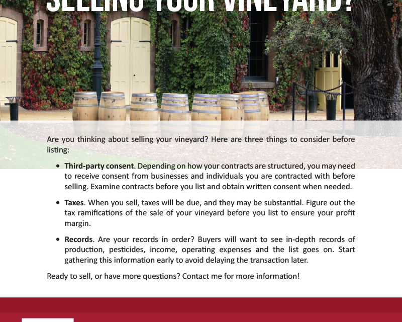 FARM: Selling your vineyard?
