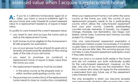 Client Q&A: As a senior, can I carry forward my property's current assessed value when I acquire a replacement home?